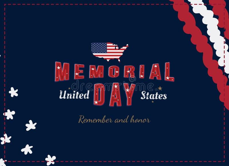 lycklig minnesm?rke f?r dag H?lsningkort med den original- stilsorten och USA ?versikt och flagga Mall f?r amerikanska ferier Pla vektor illustrationer