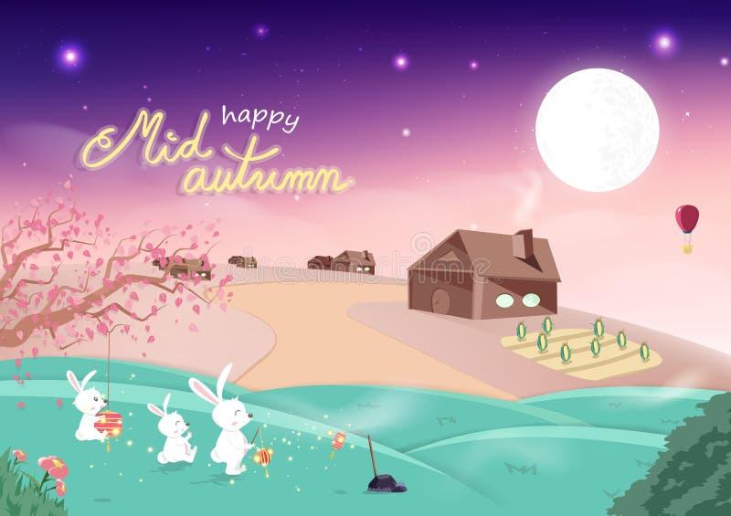 Lycklig mitt- höst, skördsäsong, gullig kanintecknad film och Sakura som faller med fullmånen i byn, fantasibegrepp, inbjudan vektor illustrationer