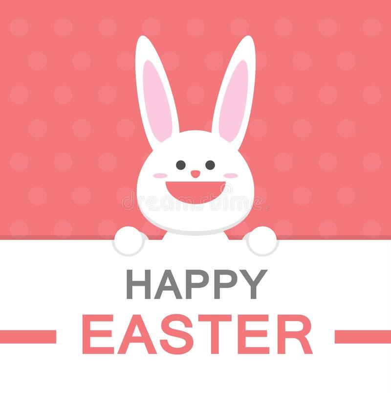Lycklig modell för rosa färger för mall för kort för hälsning för vektor för tecknad film för kanin för påskdagleende stock illustrationer