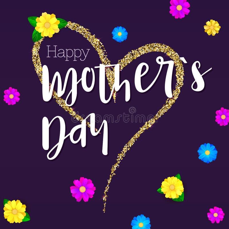 lycklig moder för dag Hälsningbaner för dina lyckönskankort Den stora handteckningshjärtan med guld blänker royaltyfri illustrationer