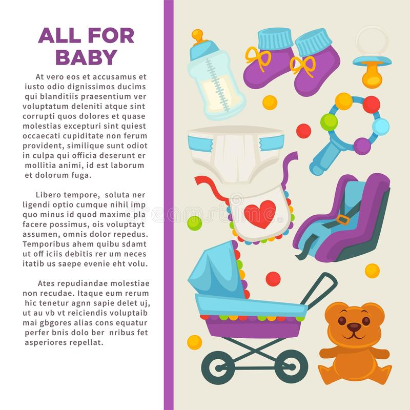 Lycklig moder för moderskap och affisch för nyfött barn royaltyfri illustrationer