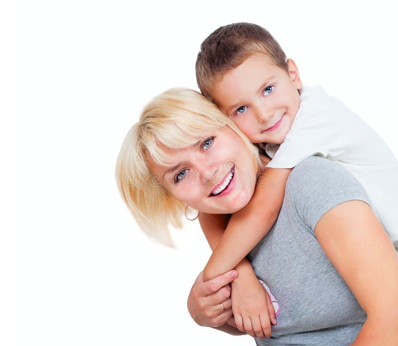 Lycklig moder med sonen royaltyfri bild