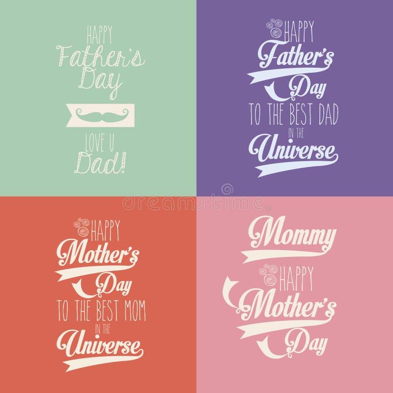 Lycklig moder- och faderdag royaltyfri illustrationer