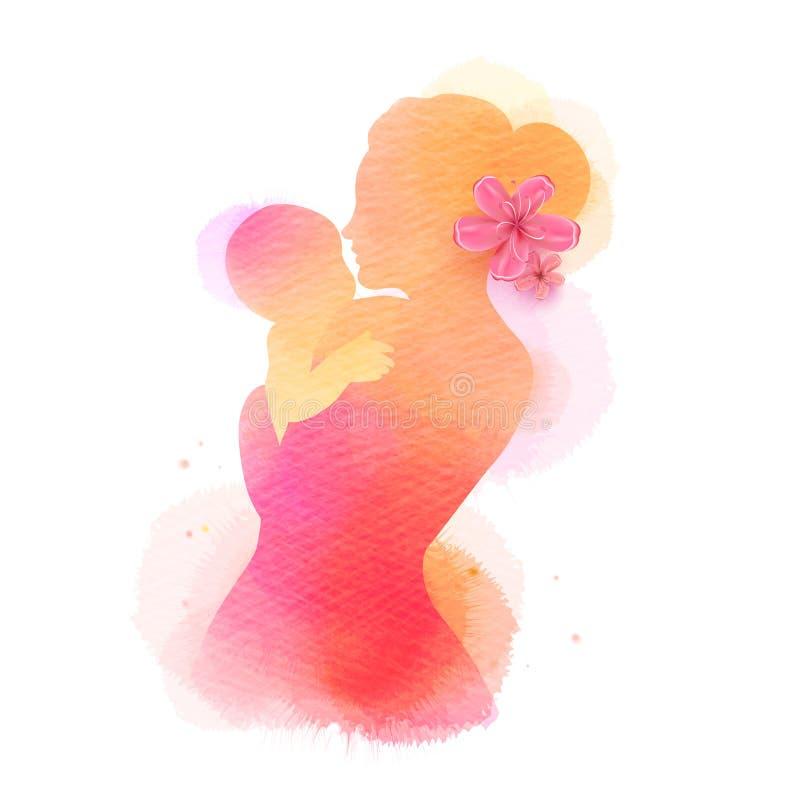 lycklig moder s f?r dag Sidosikten av den lyckliga mamman med behandla som ett barn konturn plus den målade abstrakta vattenfärge stock illustrationer
