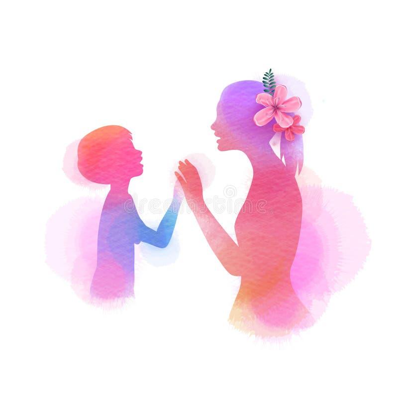 lycklig moder s f?r dag Sidosikten av den lyckliga mamman med sonkonturn plus abstrakt vattenf?rg m?lade Illustration f?r dubbel  stock illustrationer