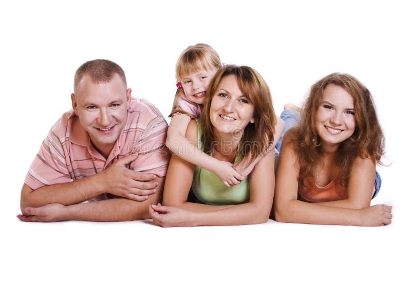 lycklig moder två för dotterfamiljfader royaltyfria foton