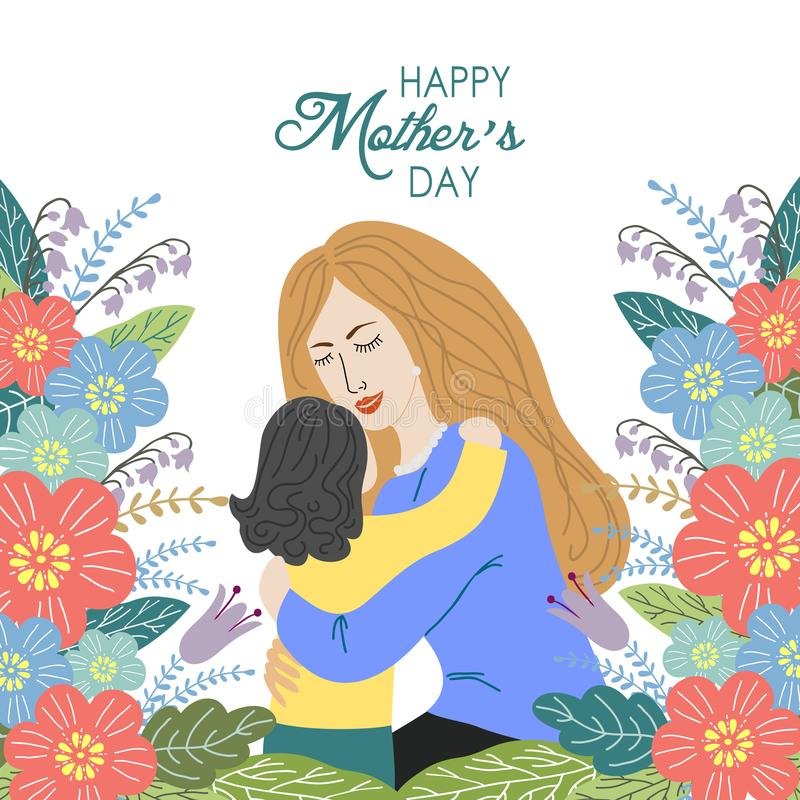 Lycklig moderdag begrepp för handattraktiondesign, mamma med ett barn som omges av blommor på en vit bakgrund, vektor vektor illustrationer