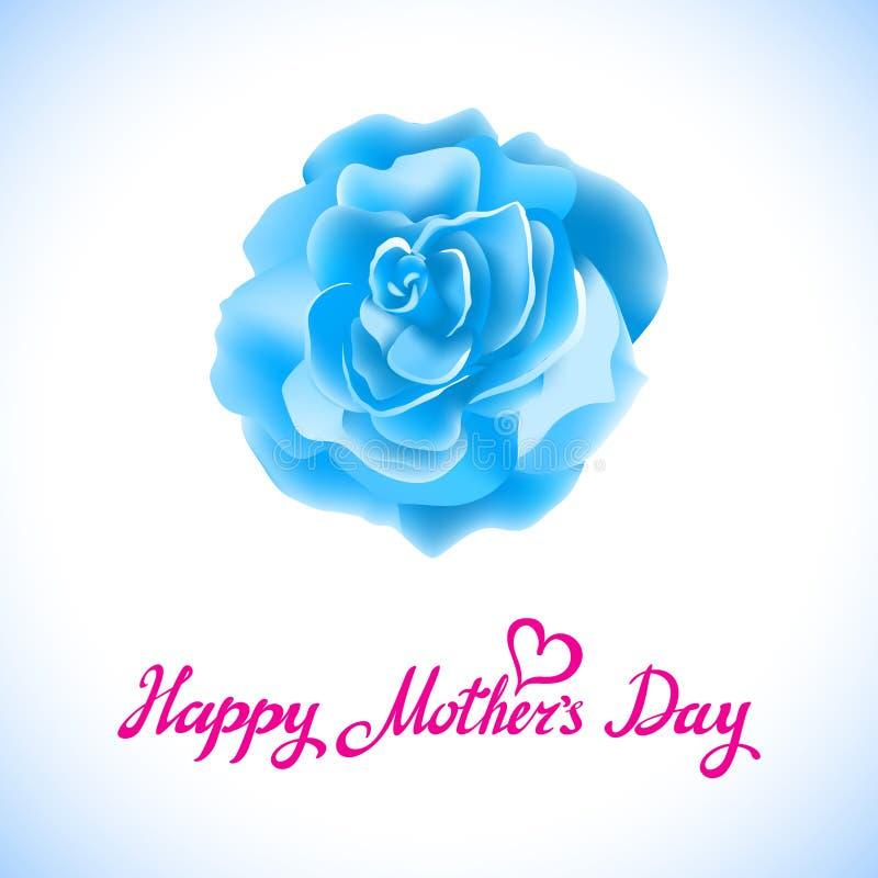 Lycklig moderdag härliga blommande blåa Rose Flowers på vit bakgrund Vektor för hälsningkort vektor illustrationer