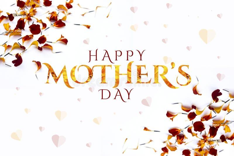 Lycklig moders design f?r orientering f?r dag med blommakronbladbakgrund r royaltyfri illustrationer