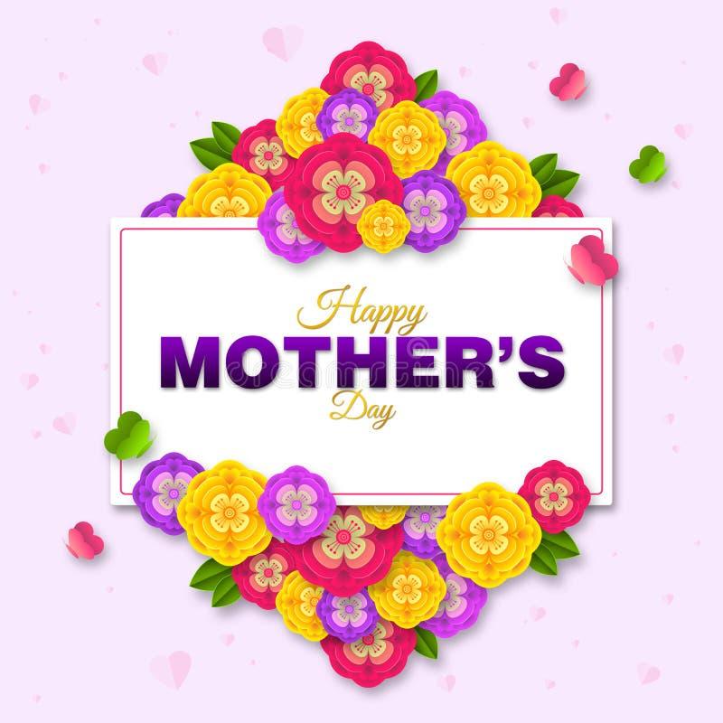 Lycklig moders design f?r orientering f?r dag med f?rgrika blomningblommor r vektor illustrationer