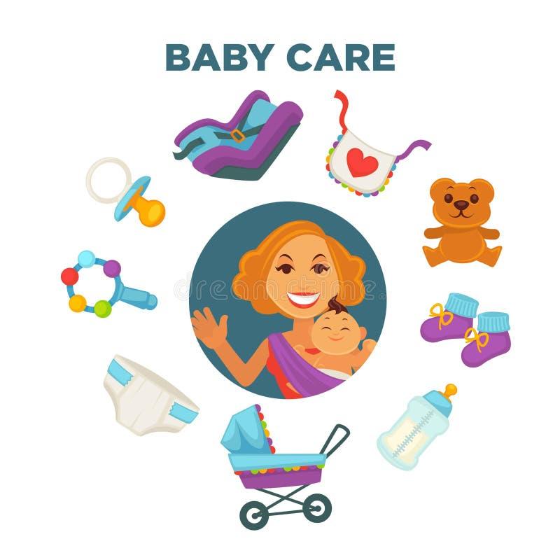 Lycklig moderskap- och moderskapaffisch av modern och nyfött barn eller åtföljande ungekläder och leksaker stock illustrationer