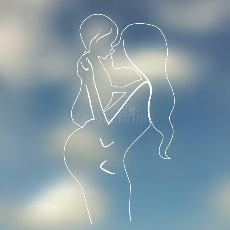 Lycklig moderskapillustration stock illustrationer