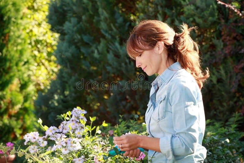 Lycklig mogen kvinna som tar omsorg av henne blommor arkivbild