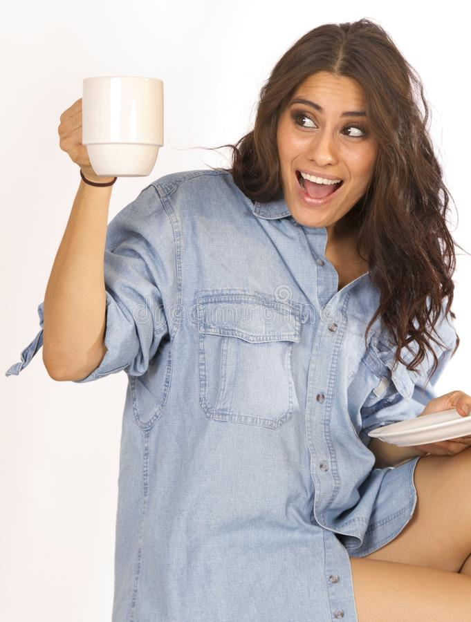 lycklig morgon för kaffe royaltyfri bild