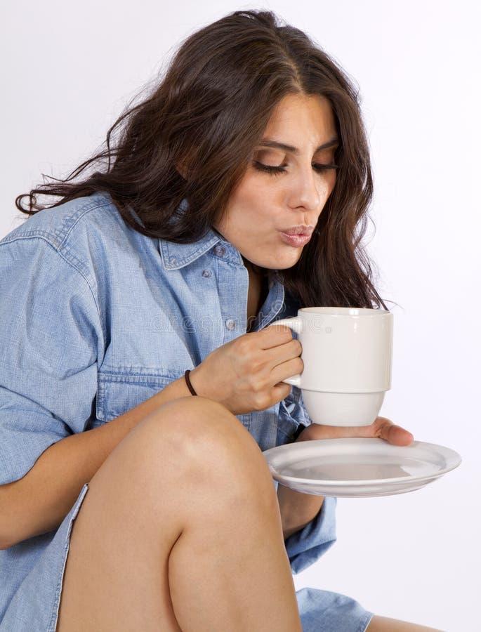 lycklig morgon för kaffe arkivfoton