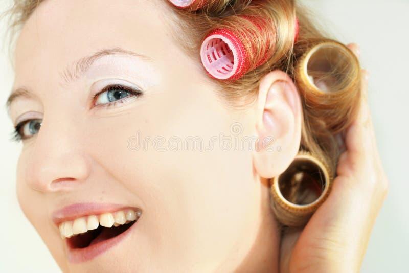 lycklig morgonkvinna arkivbild