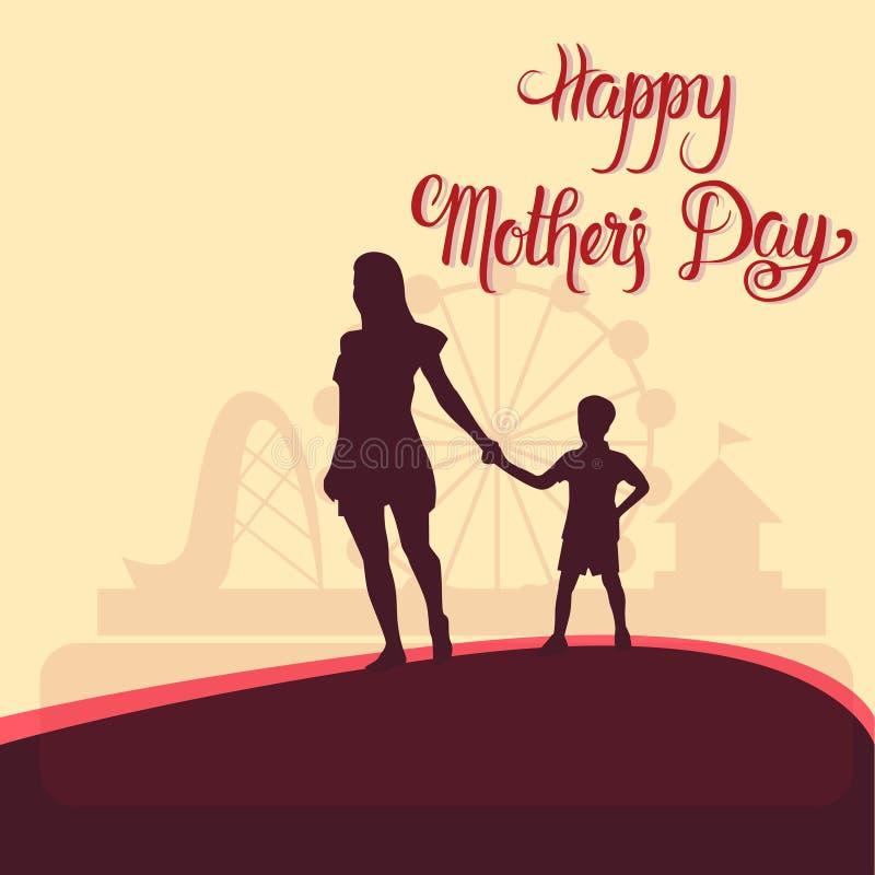 Lycklig mors dag konturkvinna med barnet, baner för kort för vårferiehälsning royaltyfri illustrationer