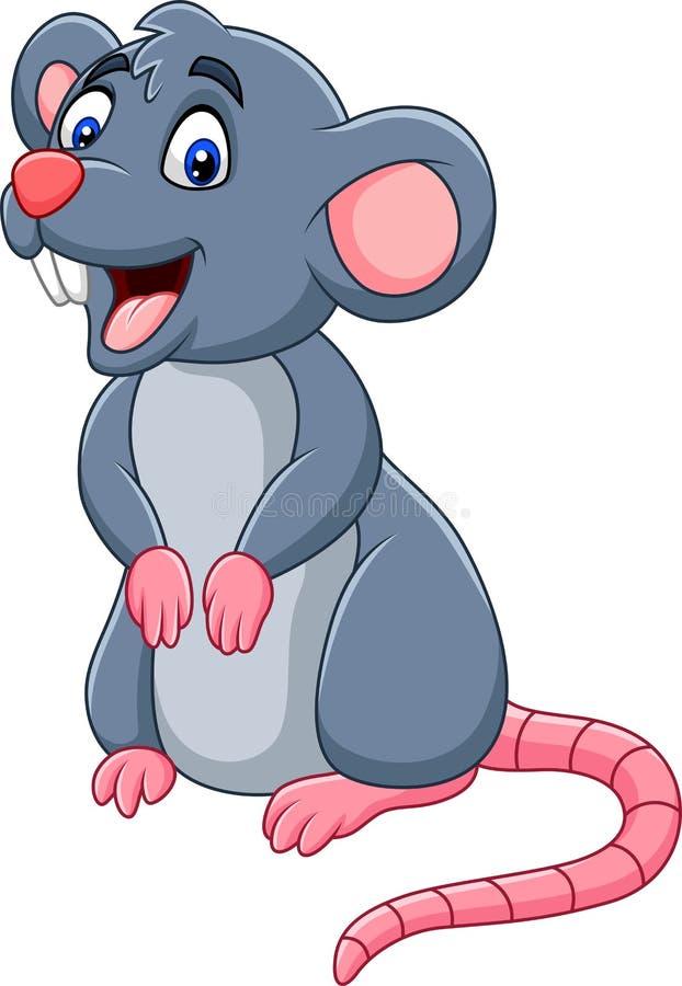 Lycklig mus för tecknad film royaltyfri illustrationer