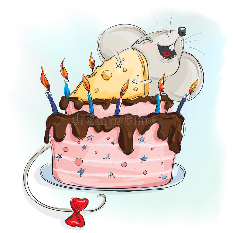 Lycklig mus med en kaka stock illustrationer