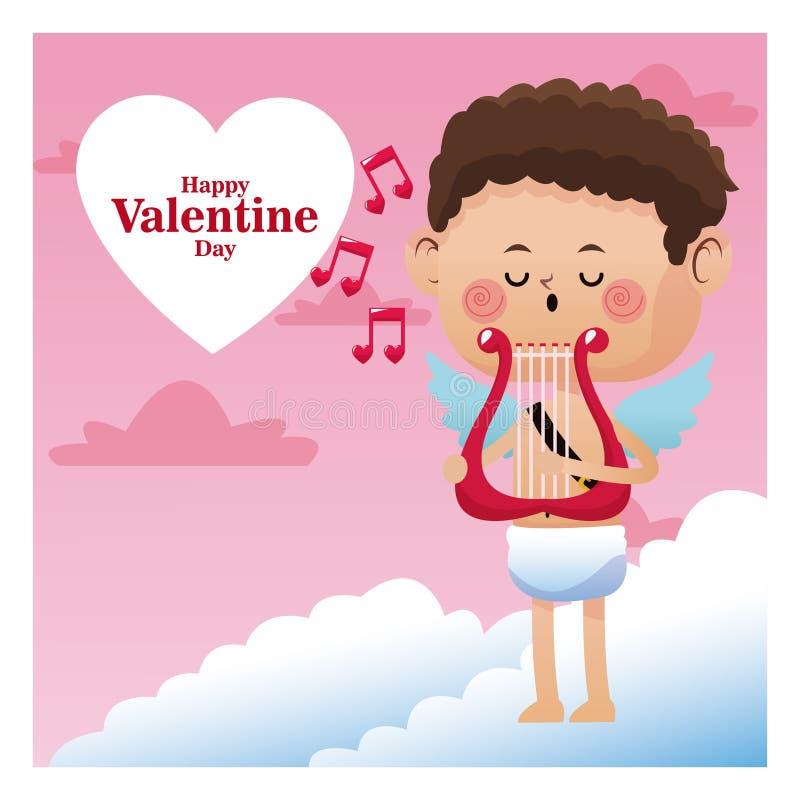 Lycklig musik för anmärkning för harpa för musik för allsång för valentindagkupidon royaltyfri illustrationer