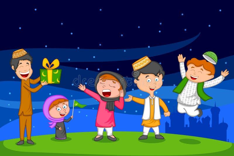 Lycklig muslimfamilj som firar Eid stock illustrationer