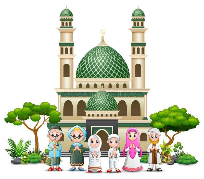 Lycklig muslimfamiljtecknad film framme av en moské stock illustrationer