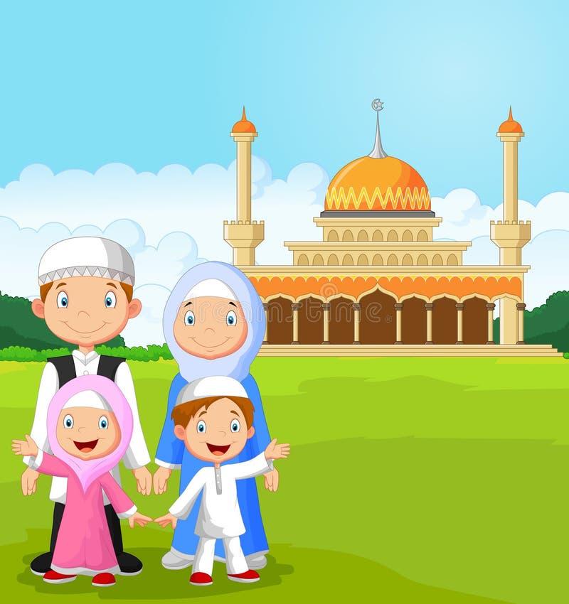 Lycklig muslimsk familj för tecknad film stock illustrationer