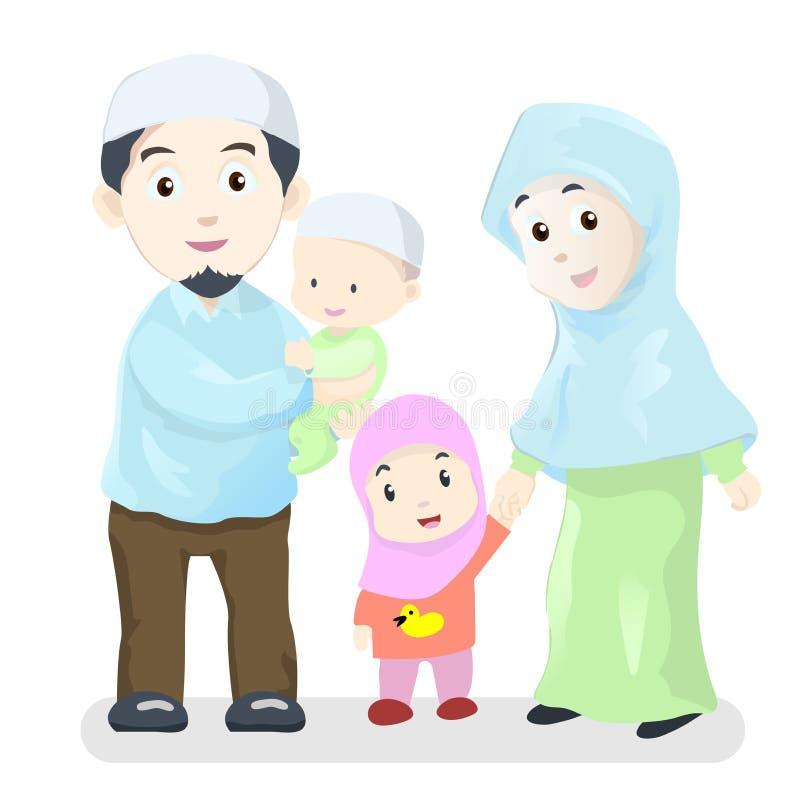 Lycklig muslimsk familj, tecknad filmvektorillustration vektor illustrationer