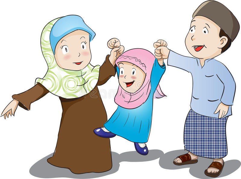 Lycklig muslimsk familj, vektorillustration stock illustrationer