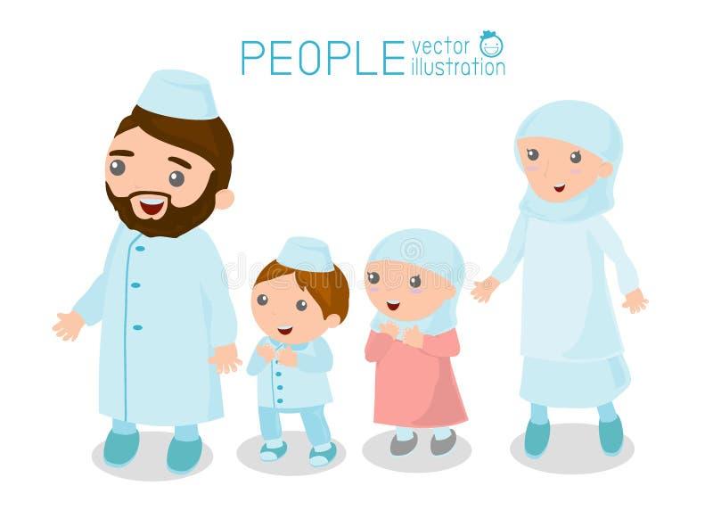 Lycklig muslimsk familjtecknad film på vit bakgrund, lycklig tecknad filmfamilj Muslimskt folk stock illustrationer
