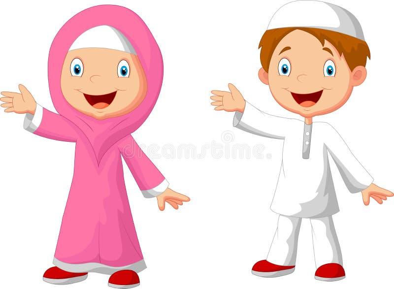 Lycklig muslimsk ungetecknad film royaltyfri illustrationer