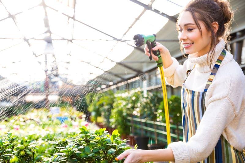Lycklig nätt kvinnaträdgårdsmästare som bevattnar växter med den trädgårds- slangen royaltyfria foton