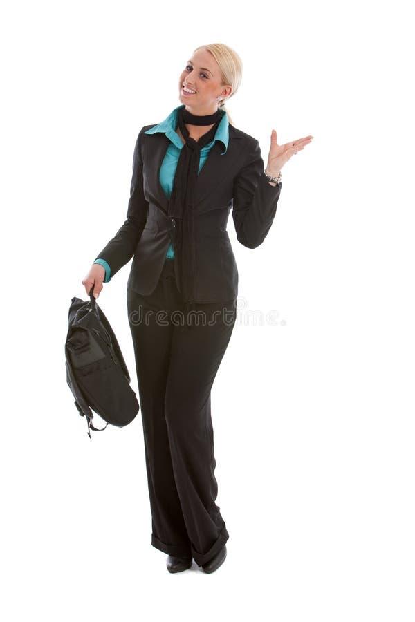 lycklig nätt leendekvinna för affär royaltyfria foton