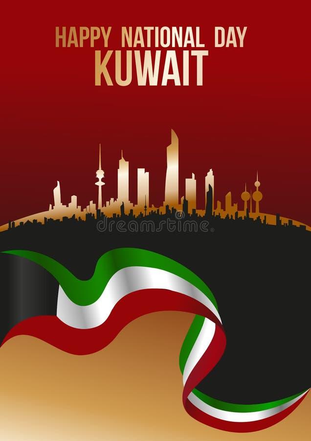 Lycklig nationell dag Kuwait - flagga- och stadskonturhorisont royaltyfri illustrationer