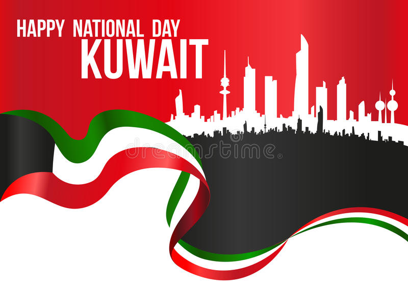 Lycklig nationell dag Kuwait - flagga- & stadskonturhorisont Hor stock illustrationer