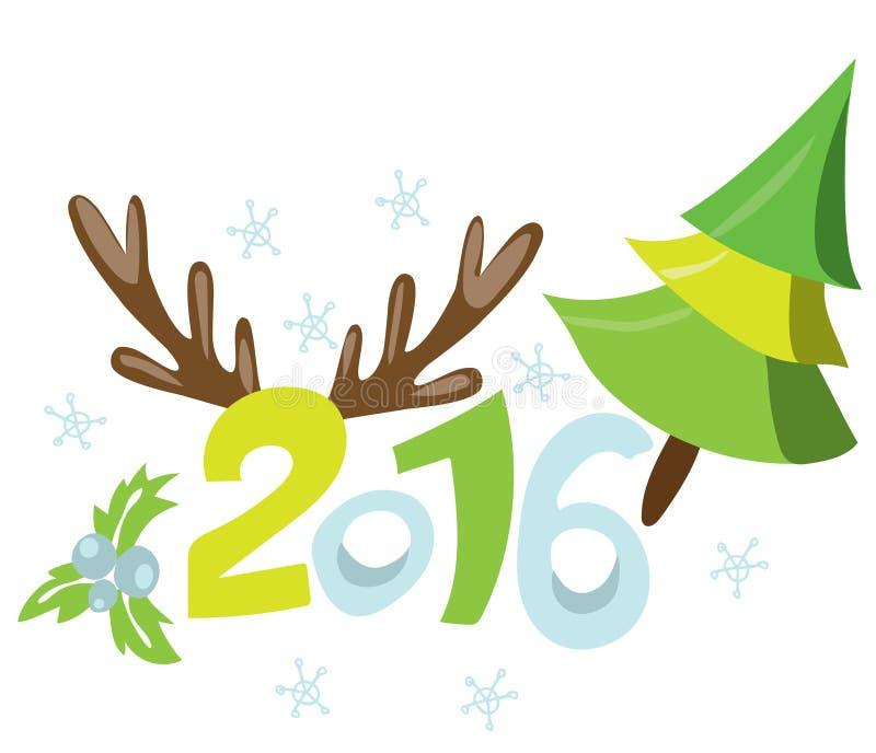 Lycklig ny 2016 år affischmall stock illustrationer