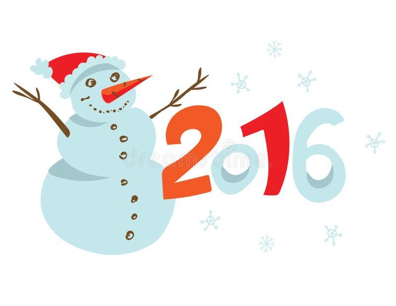 Lycklig ny 2016 år affischmall royaltyfri illustrationer