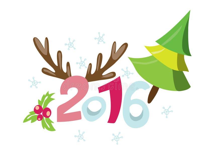 Lycklig ny 2016 år affischmall Bakgrund för Stulish hälsningkort Feriebakgrund Nya år inbjudan med sörjer trädet vektor illustrationer