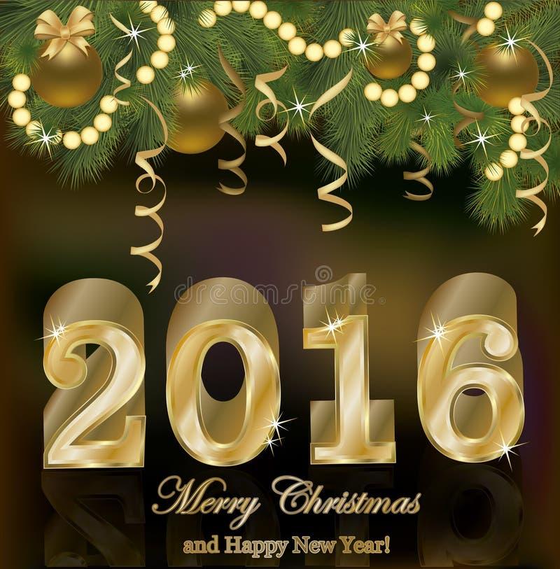 Lycklig ny 2016 år guld- bakgrund royaltyfri illustrationer
