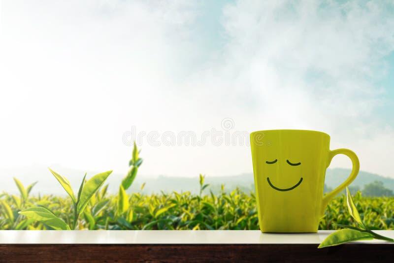 Lycklig och avkopplingbegrepp En kopp av varmt te med Smiley Face royaltyfri foto