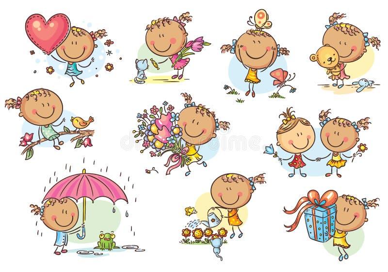 Lycklig och gullig liten flickauppsättning, vektor royaltyfri illustrationer