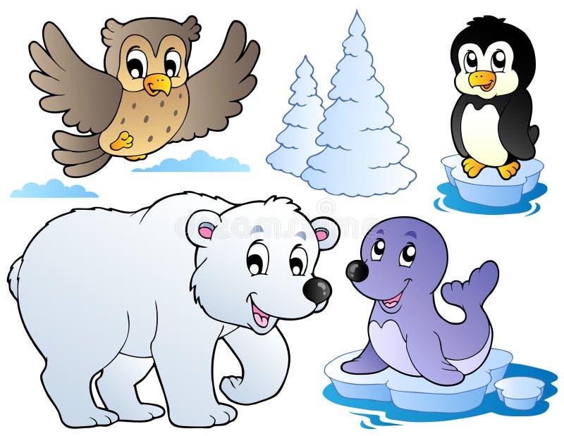 lycklig olik vinter för djur stock illustrationer