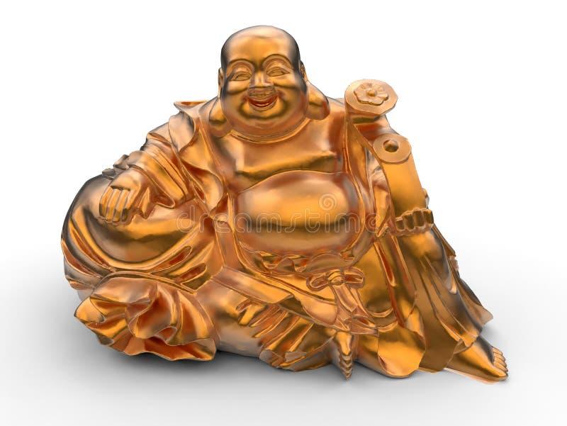 Lycklig orange Buddhastatyett stock illustrationer