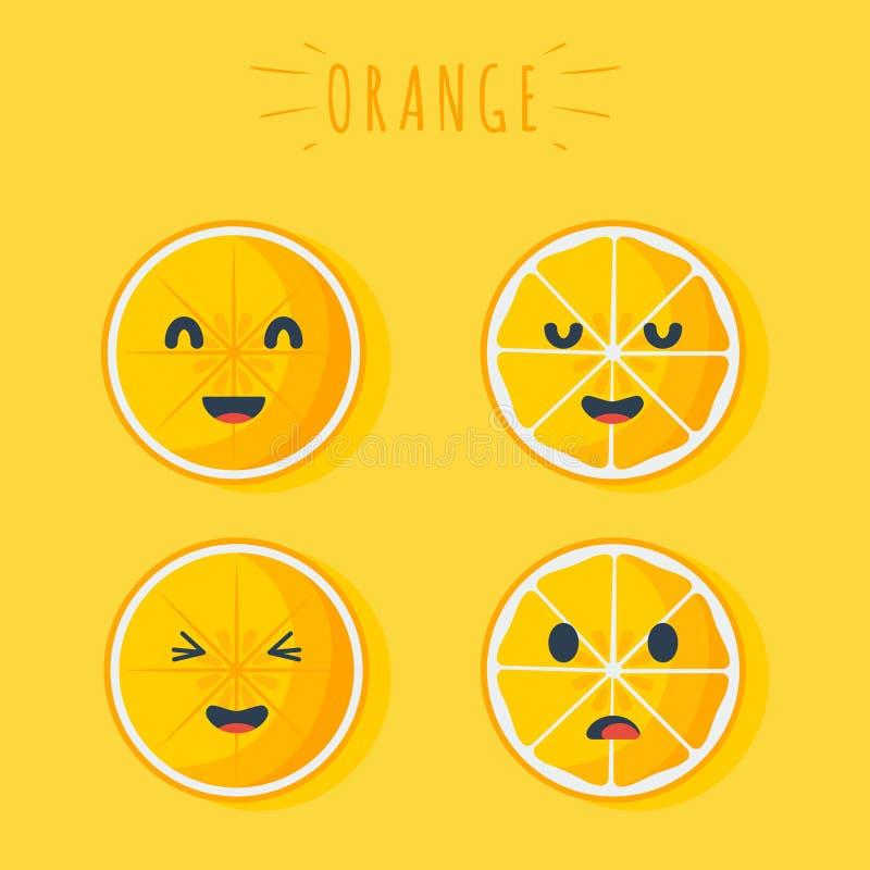 Lycklig orange frukt vektor illustrationer