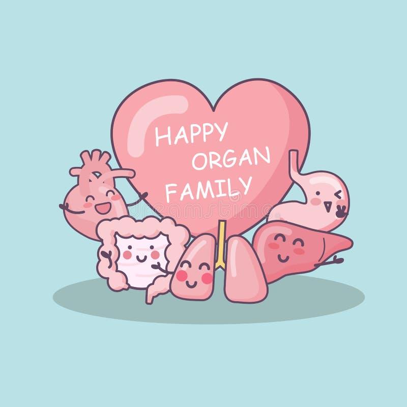 Lycklig organfamilj royaltyfri illustrationer