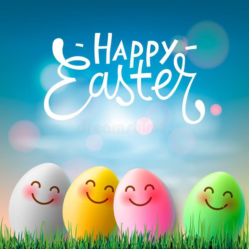 Lycklig påsk, färgrika easter ägg med gulliga le emojiframsidor, vektorillustration royaltyfri illustrationer