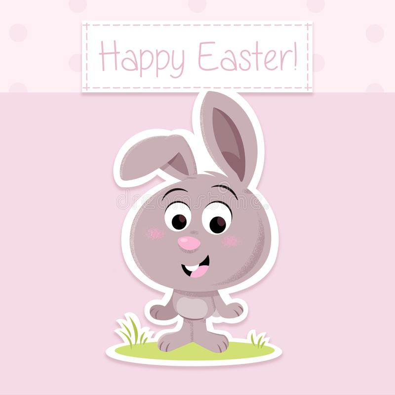 Lycklig påsk! - Gullig liten påskkanin - mall för hälsningkort royaltyfri illustrationer