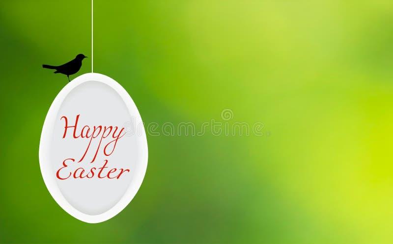 Lycklig påsk i ägg och svart fågelkontur på oskarp gräsplan, vektor eps 10 royaltyfri illustrationer