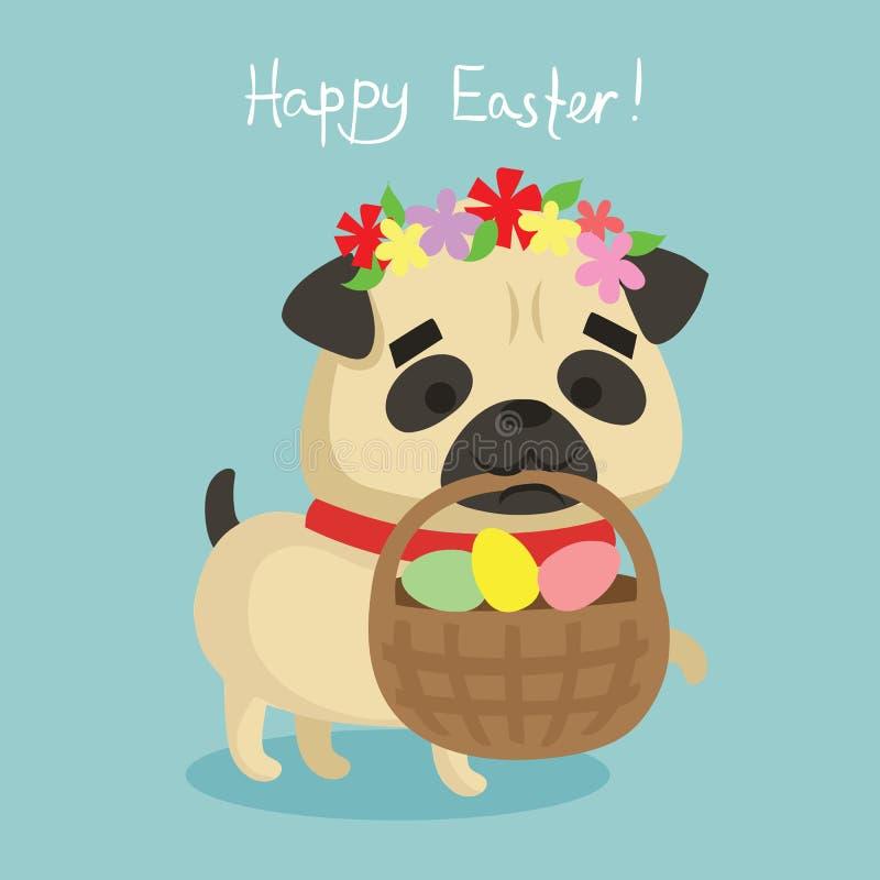 Lycklig påsk! Kort med den gulliga valphunden stock illustrationer