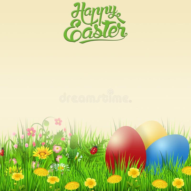 Lycklig påsk med ägg och blommor stock illustrationer